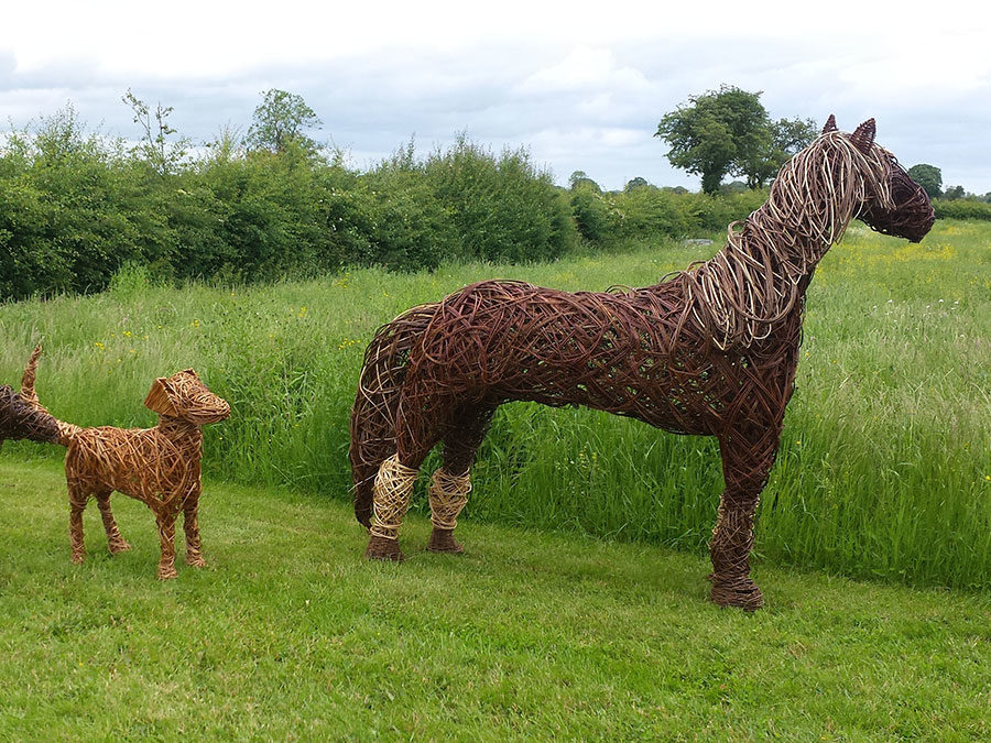 Horse and two Labradors